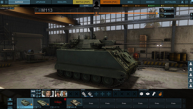 Screen shot z garáže Armored Warfare